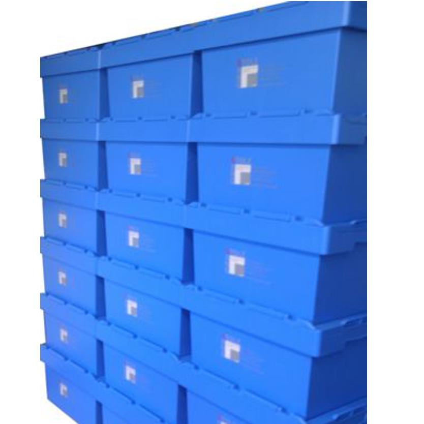 KLT Behälter bedrucken bei Posprint Bedruckungen, Beispielbild