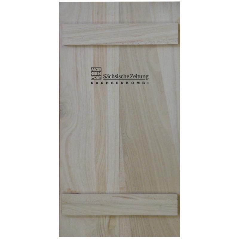 Bedrucken von Holz bei Posprint Bedruckungen, Beispielbild